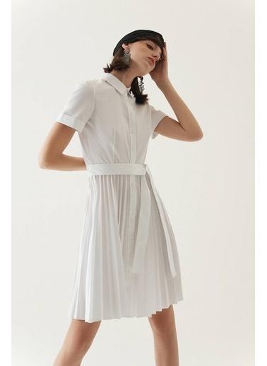 Rue Kuşaklı Midi Gömlek Elbise Beyaz